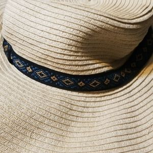straw men's hat with black band summer hiking sun